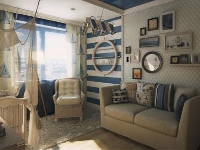 Дизайн интерьера в морском стиле со светлой мебелью