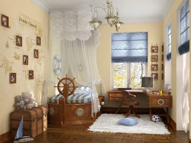 Дизайн интерьера в морском стиле детской комнаты