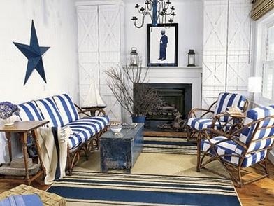 Дизайн интерьера в морском стиле комнаты отдыха