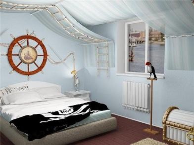 Дизайн интерьера в морском стиле в гостинице