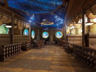 Дизайн интерьера в морском стиле в кафе