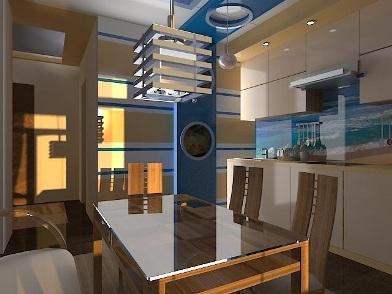 Дизайн интерьера в морском стиле кухни в квартире