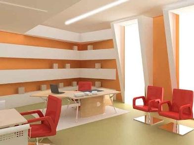 дизайн интерьеров офисных помещений в оранжевом цвете